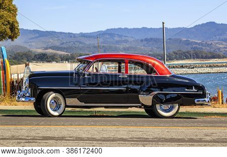 Half Moon Bay, Usa - September 05, 2015: Classic 1950s Chevrolet Fleetline Deluxe, Two-tone Black An