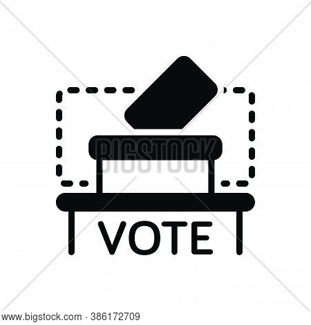 Black Solid Icon For Vote-where Vote Ballot-box Referendum Envelope Container Decision Democracy Can