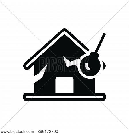 Black Solid Icon For Eliminate Destroy Dissipate Damage Sabotage Desolate Dissipate House Disaster