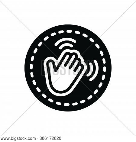 Black Solid Icon For Hey Finger Acknowledge Goodbye Hello Hiya Howdy Welcome Greetings Hand-wave Ges
