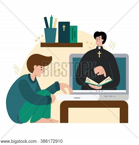 Church School Online. The Pastor Conducts Church Services Online. Concept Church And Liturgy Online.