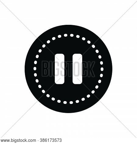 Black Solid Icon For Pause Standstill Stoppage Stasis Button Circle Control Accessory Stop Player Re
