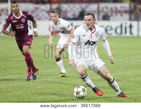 CLUJ-NAPOCA, ROMANIA - OCTOBER 2: Rooney in UEFA Champions League match between CFR 1907 Cluj and Manchester United,  on 2 Oct., 2012 in Cluj-Napoca, Romania