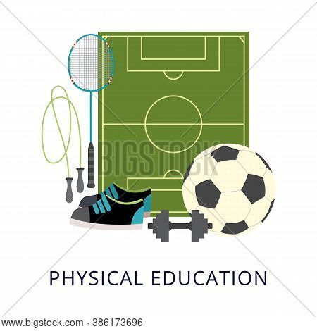 Physical Education School Subject Poster With Sport Equipment