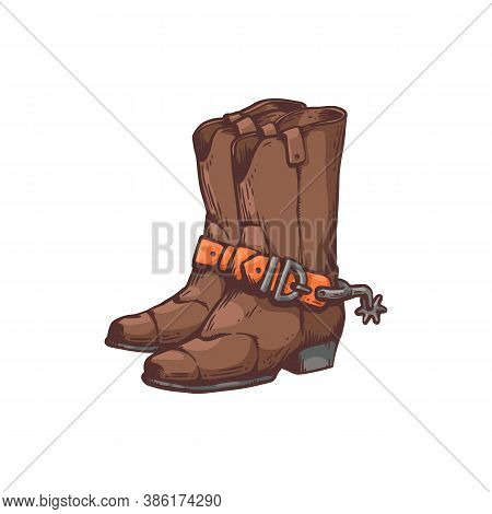 Cowboy Boots Or Western Footwear Of Cowpuncher Vector Illustration Isolated.