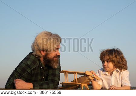 Child Son Pilot And Dad Daddy Father With Airplane