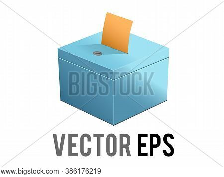 The Isolated Vector Blue Ballot Box Icon With Slot, Casting Vote For Voting And Elections Politics A