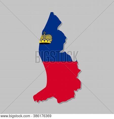 Liechtenstein National Flag On The Map. High Detailed Liechtenstein Map With Flag Inside. European C