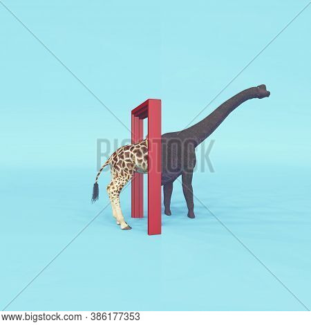 Giraffe Entering A Door And Gets Out As A Dinosaur . Changing Mindset And Different Approach Concept
