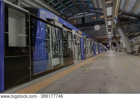 Bangkok, Thailand - Sep 18, 2020 :  Inside Large Modern Tha Phra Bts Skytrain Station Of The Central
