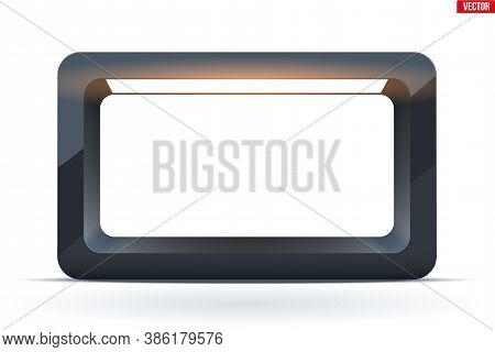 Lightbox With Spotlight. Black Rectangle For Product Presentation. Softbox For Object Shooting. Vect