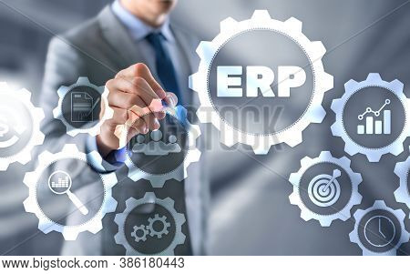 Enterprise Resource Planning Erp Corporate Business Concept On Futuristic Background.