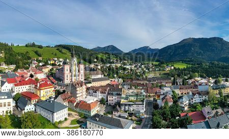 Mariazell,. The Most Important Pilgrimage Destination In Austria. Panorama View To The Basilica Mari