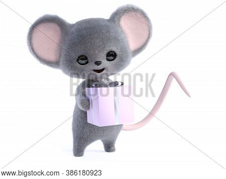 3d Rendering Of An Adorable Kawaii Furry Smiling Mouse Holding A Wrapped Birthday Gift In Its Hands.