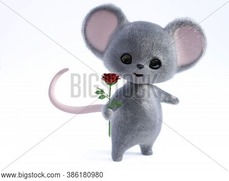3d Rendering Of An Adorable Kawaii Furry Smiling Mouse Holding A Red Rose In Its Hand, Being Romanti