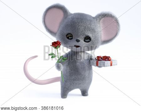 3d Rendering Of An Adorable Kawaii Furry Smiling Mouse Holding A Red Rose In One Hand And A Gift In