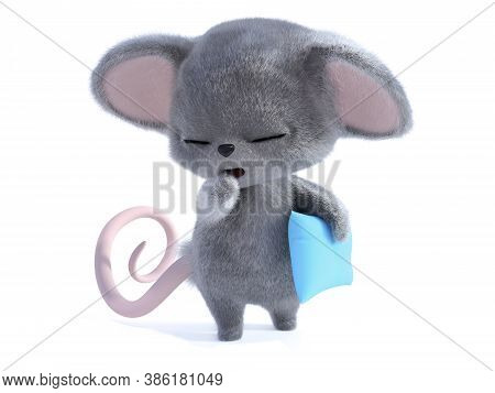 3d Rendering Of An Adorable Kawaii Furry Mouse Holding A Blue Pillow And Yawning And Looking Very Sl