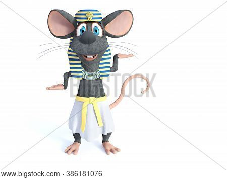 3d Rendering Of A Cute Smiling Cartoon Mouse Dressed In An Ancient Egyptian Style. White Background.