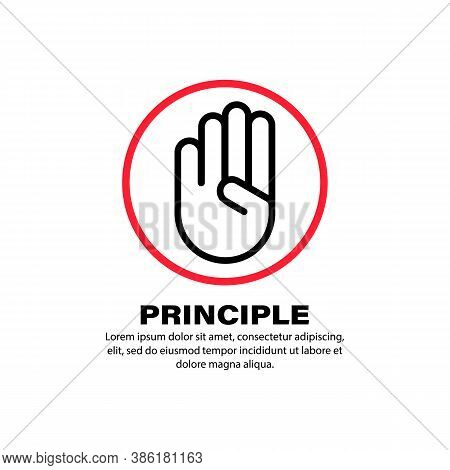 Principle Icon. Bussiness Concept. Hand Gesture. Vector On Isolated White Background. Eps 10