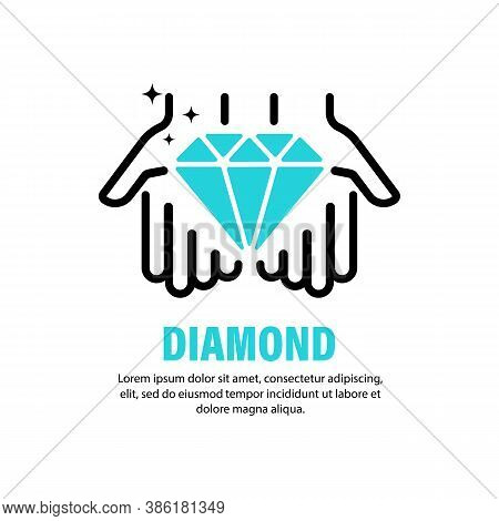 Diamond Icon. Precious Stone. Carat. Jewelry. Vector On Isolated White Background. Eps 10