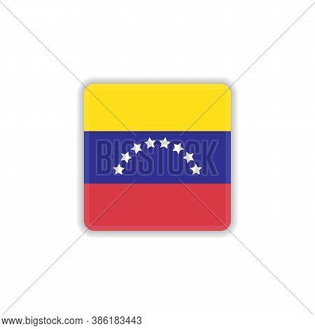 Venezuela National Flag Flat Icon, Vector Sign, Flag Of Venezuela Colorful Pictogram Isolated On Whi