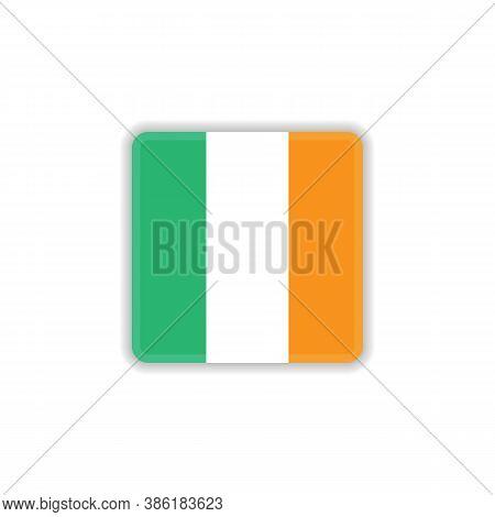 Ireland National Flag Flat Icon, Vector Sign, Flag Of Ireland Colorful Pictogram Isolated On White.