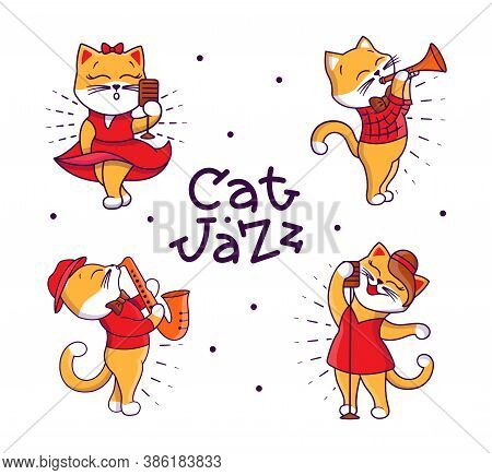 Set Of Funny Retro Family. Cartoonish Cats Playing Jazz