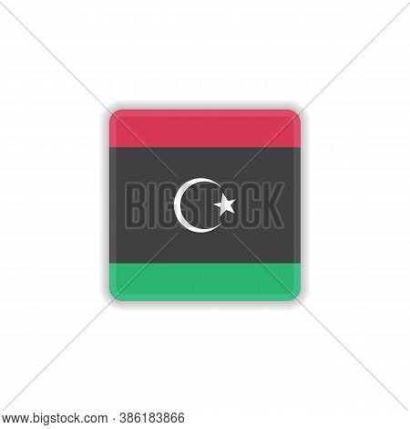 Libya National Flag Flat Icon, Vector Sign, Official Flag Of Libya Colorful Pictogram Isolated On Wh