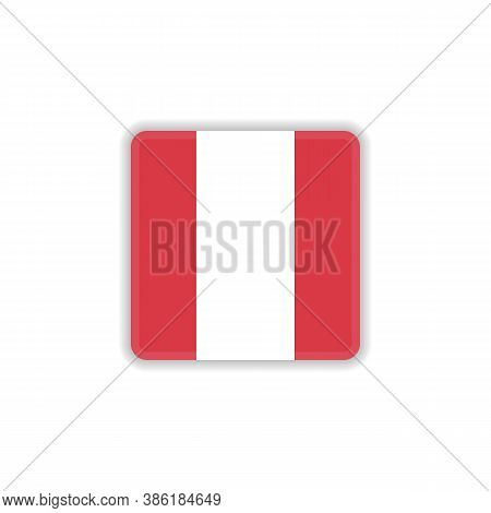 Peru National Flag Flat Icon, Vector Sign, Official Flag Of Peru Colorful Pictogram Isolated On Whit