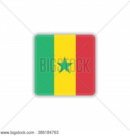 Senegal National Flag Flat Icon, Vector Sign, Official Flag Of Senegal Colorful Pictogram Isolated O