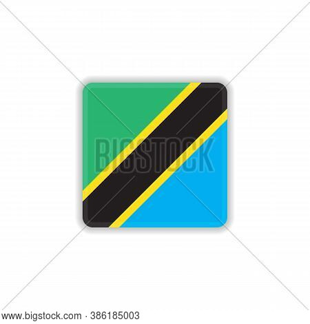 Tanzania National Flag Flat Icon, Vector Sign, Official Flag Of Tanzania Colorful Pictogram Isolated