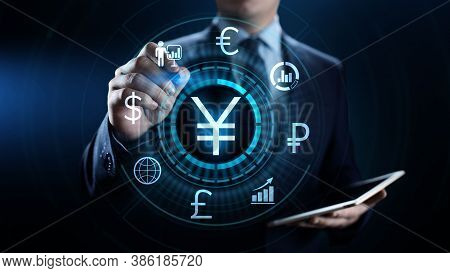 Yen Symbol Forex Trading Currency Exchange Business Finance Concept.