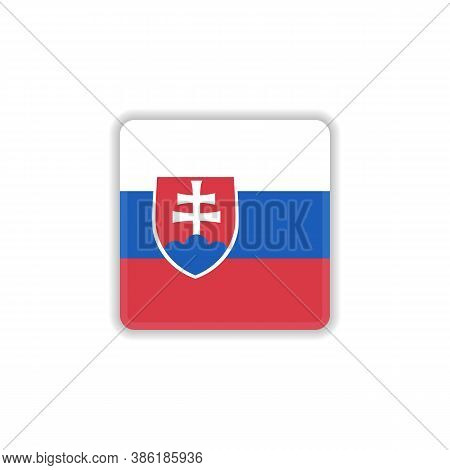 Slovakia National Flag Flat Icon, Vector Sign, Official Flag Of Slovakia Colorful Pictogram Isolated
