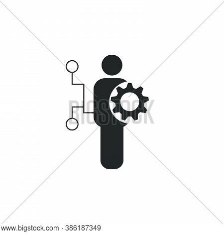 Developer Job Vector Icon. User Man Gear Icon. Stock Vector Illustration Isolated On White Backgroun