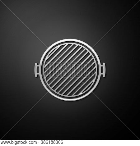 Silver Barbecue Grill Icon Isolated On Black Background. Top View Of Bbq Grill. Long Shadow Style. V