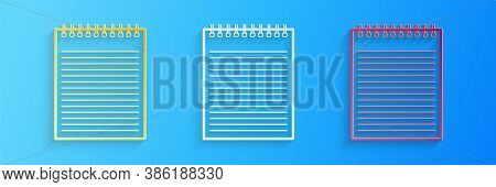 Paper Cut Notebook Icon Isolated On Blue Background. Spiral Notepad Icon. School Notebook. Writing P