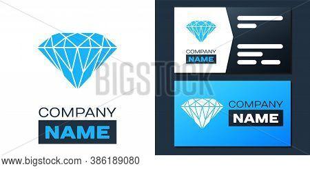 Logotype Diamond Icon Isolated On White Background. Jewelry Symbol. Gem Stone. Logo Design Template