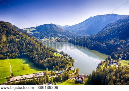 Lunzer See In The Ybbstal Alps. Aerial View To The Idyllic Lake In Lower Austria.