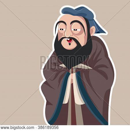 Ancient Chinese Philosopher Confucius Vector Caricature Illustration
