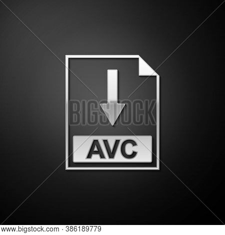 Silver Avc File Document Icon. Download Avc Button Icon Isolated On Black Background. Long Shadow St