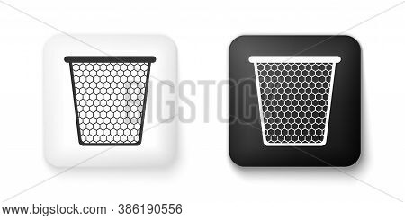 Black And White Trash Can Icon Isolated On White Background. Garbage Bin Sign. Recycle Basket Icon.