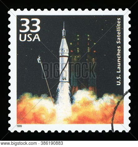 United States Of America, Circa 1999: A Postage Stamp Printed In Usa Showing An Image Of A Launching