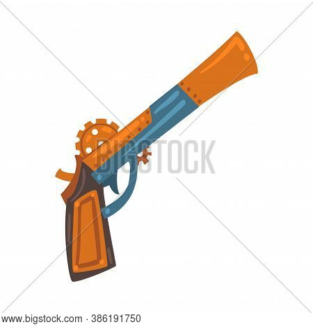 Steampunk Revolver Gun, Antique Mechanical Device Or Mechanism, Stylized Cartoon Style Vector Illust