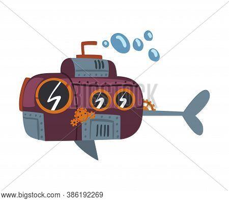 Steampunk Submarine, Antique Mechanical Device Or Mechanism, Stylized Cartoon Style Vector Illustrat