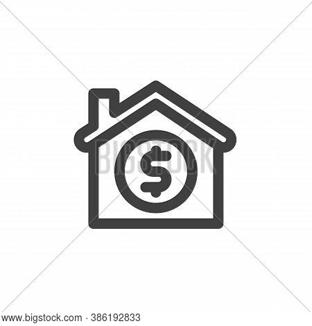 House Price Line Icon. Home And Money Linear Style Sign For Mobile Concept And Web Design. Mortgage