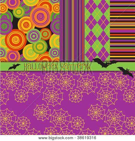 Halloween Patterns - 5 seamless Halloween patterns in warm orange, purple, black and green, including argyle, stripes, spiderwebs and concentric circles