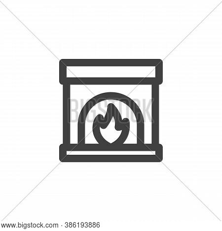 Fireplace Burn Line Icon. Linear Style Sign For Mobile Concept And Web Design. Fireplace Outline Vec