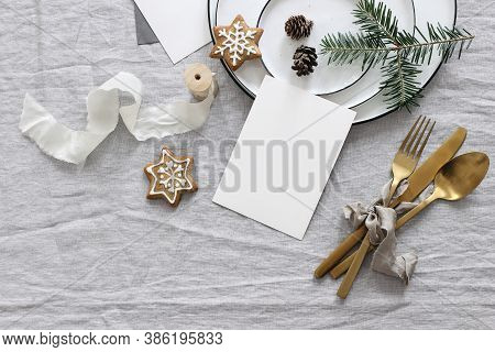 Plates, Pine Cones On Table Cloth. Winter Festive Greeting Cards Mockup Scene. Golden Cutlery, Ginge