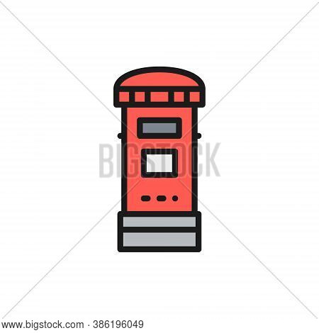 Traditional London Postbox, Post, Mailbox Flat Color Line Icon.