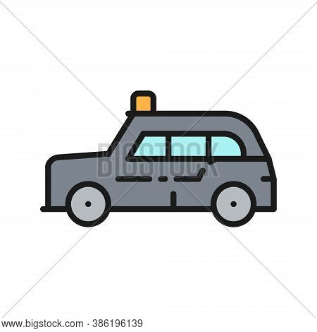 London Cab, Traditional Public Transport, Taxi Flat Color Line Icon.